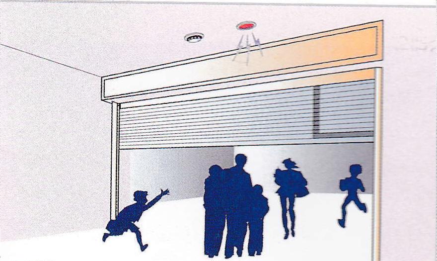 Trạng thái hoạt động của cảm biến an toàn Cảm biến an toàn phát hiện và tạm dừng người xung quanh màn trập ở trạng thái rơi giai đoạn đầu tiên để gây ra sự sơ tán nhanh chóng.